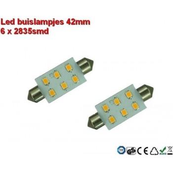 Led-buislampen 37mm 6 x 2835smd Cool-wit 10-30v