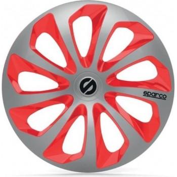 SPARCO 4 wielhoezen 15 inch Sicilia zilver en rood
