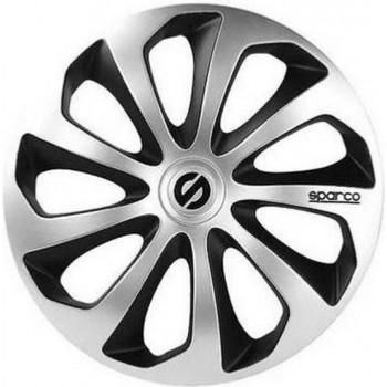 SPARCO 4 wielhoezen 15 inch Sicilia zilver en zwart