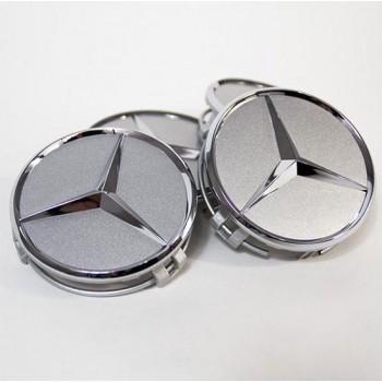 Set van 4 Mercedes naafdoppen 76mm zilver