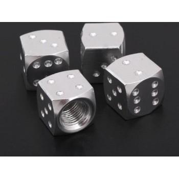 Ventieldoppen Aluminium Dobbelsteen Zilver 4 Stuks