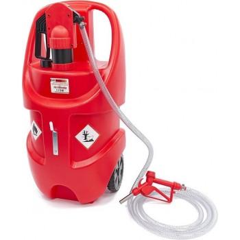 Professionele 75 Liter Mobiele Opslagtank met Manuele Pomp voor Benzine, Diesel en Oliën