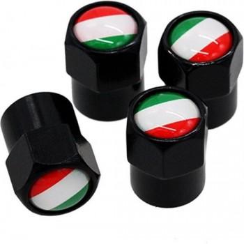 TT-products ventieldoppen aluminium Italiaanse vlag zwart 4 stuks