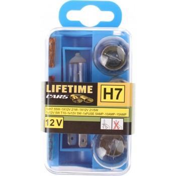 Lifetime Cars Reservelampenset Auto H7 12 Volt 8-delig