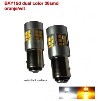 2 x BAY15d-30SMD Dual color Oranje-wit