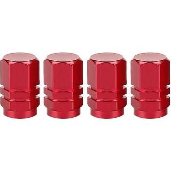 Ventieldoppen Aluminium Rood 4 Stuks