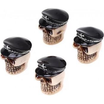 DTouch ventieldoppen Black General Skull zwart/beige 4 stuks