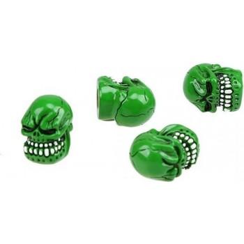 DTouch ventieldoppen Green Skull groen 4 stuks