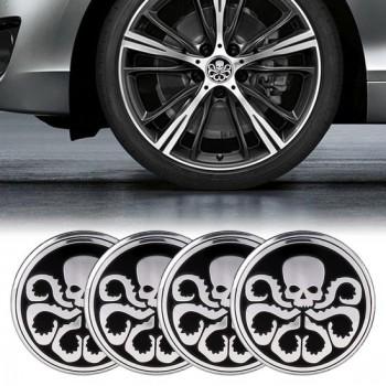 4 STKS Auto-Styling Schedel Patroon Wielnaaf Decoratieve Sticker, Diameter: 5.8cm