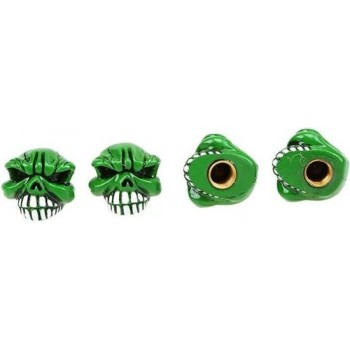 DTouch ventieldoppen Angry Green Skull groen 4 stuks