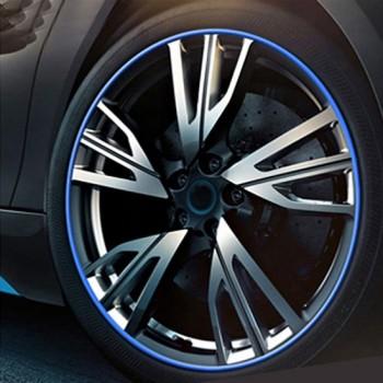 Universele decoratieve krasbestendig stickup 8 m flexibele auto wielnaaf trim decoraties decoratie strip (blauw)