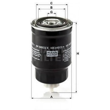 MANN FILTER Brandstoffilter WK940 / 22