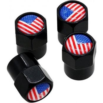 TT-products ventieldoppen aluminium Amerikaanse vlag zwart 4 stuks