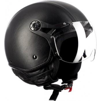 Westt Classic X Leather · Open scooter jethelm Retro leren zwarte Motorhelm · Motorhelm dames en heren · ECE goedgekeurd