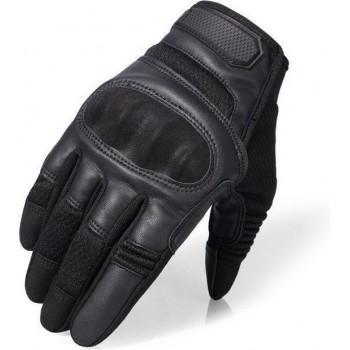 Ademende Motorhandschoenen - Zwart - PU Leer - Touchscreen - Bescherming - Maat M
