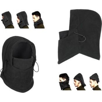 3-In-1 Fleece Balaclava Winter Muts Face Mask Nek Warmer - Thermo Helmmuts Capuchon Masker - Zwart