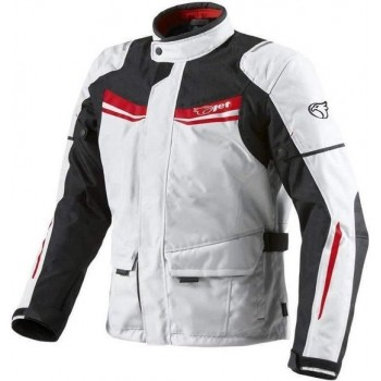 JET Textiele Motorjas Heren - Wit Rood - Maat 7XL