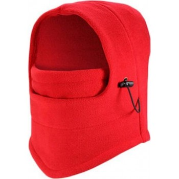 Fleece Bivakmuts - Volwassenen - Unisex - One size - Face Mask - Balaclava - Rood - Wintersport