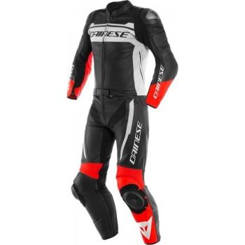 Dainese Mistel Black Matt White Lava Red Leather 2 Piece Motorcycle Suit 52