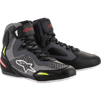 Alpinestars Faster-3 Rideknit Black Gray Red Yellow Fluo Motorcycle Shoes 10.5