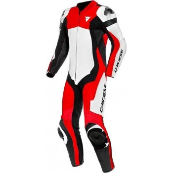 Dainese Assen 2 Perforated White Lava Red Black 1 Piece Motorcycle Suit 52