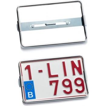 Nummerplaathouder Moto Chromé voor nummerplaat 210x140mm BELGIË