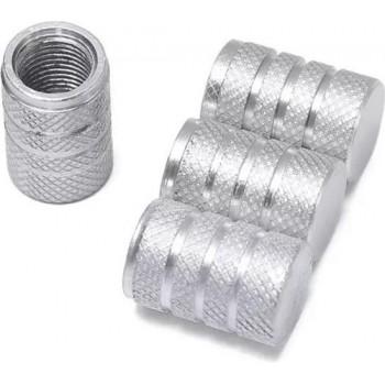 TT-products ventieldoppen 3-rings Silver aluminium 4 stuks zilver