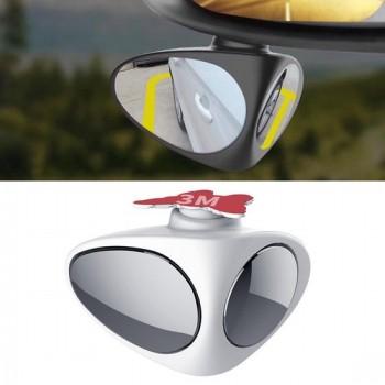 3R-051 360 graden draaibaar links blind spot zijkant hulpspiegel voor auto (wit)